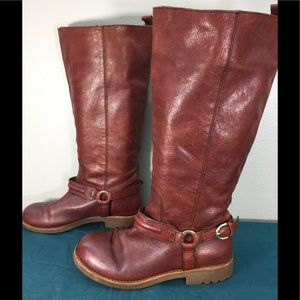 Coach Brown Leather Valterra Riding Moto Boots